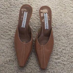 """Donald J Pliner Camel colored slides w/ 2""""  heel."""